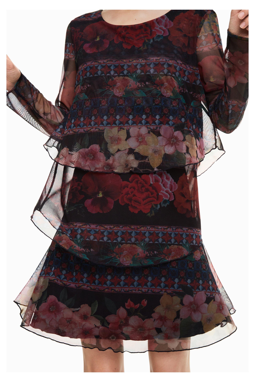 desigual logan damen kleid im lagenlook