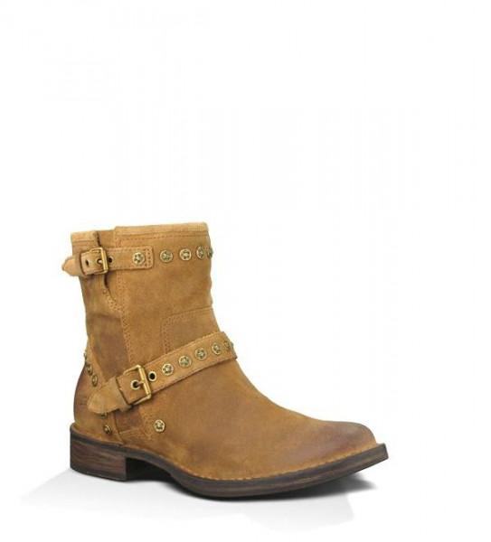 UGG Fabrizia Damen Western Stiefel mit Holzsohle- chestnut