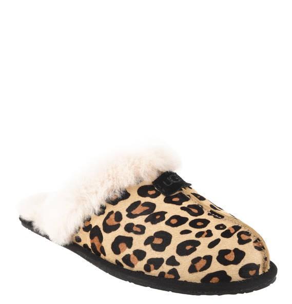 UGG Scuffette II Leo calf hair Damen Hausschuhe schwarz mit Geschenkbox