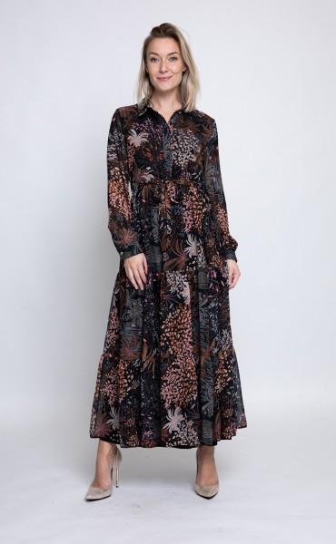 Zhrill Elena Damen Chiffon Maxi Kleid mit Blumenmuster