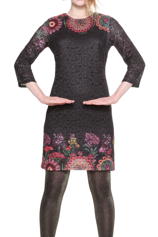 desigual darina damen kleid mit spitze - schwarz