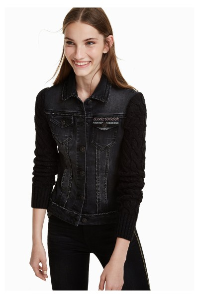 Desigual Black Panther Damen Jeans Jacke - schwarz