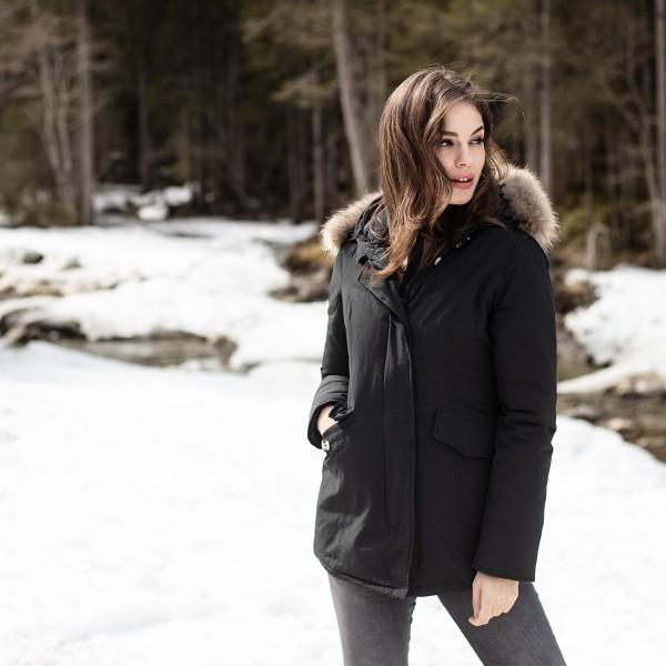 Airforce 2 Pocket Classic Damen Jacke - schwarz mit Echtfell