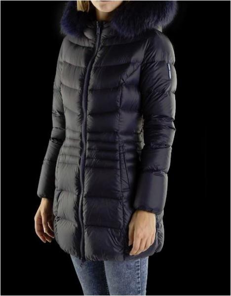Bomboogie Damen Daunenjacke CW425P - schwarz mit schwarzem Echtfell