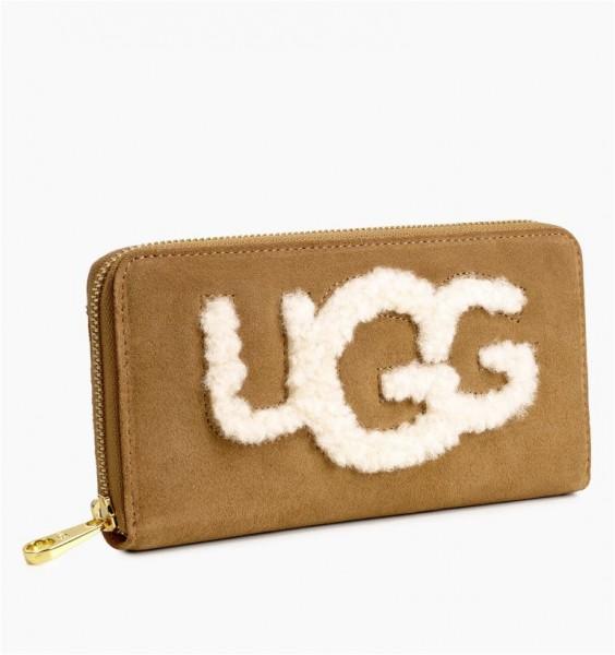 UGG Honey Zip Sheepskin Portemonnaie chestnut