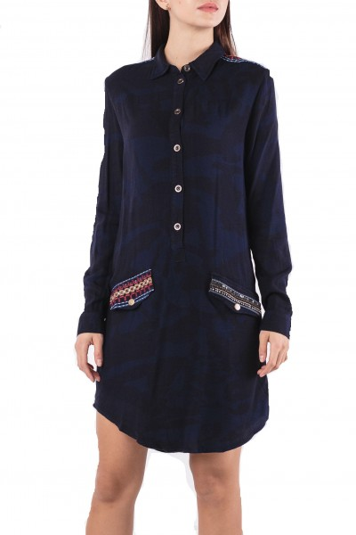 Desigual Diepe Damen Hemdkleid - blau