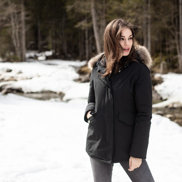 Airforce 2 Pocket Classic Parka Polyester Damen Jacke schwarz -mit natur Echtfell -