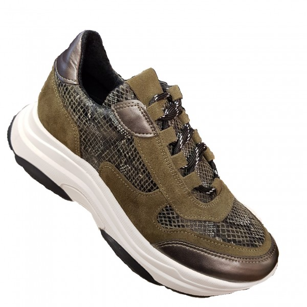SPM Katrie Ugly Plateau Sneaker oliv Crocco Snake