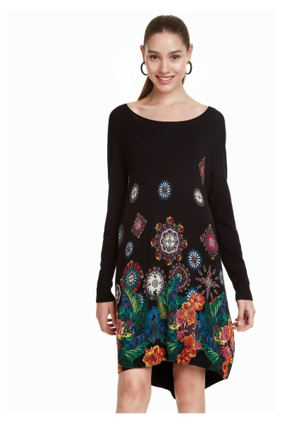 Desigual Diane Damen Longpullover Kleid mit Blumen