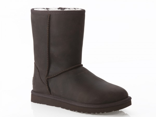 UGG Classic Short Leather Damen Stiefel - braun