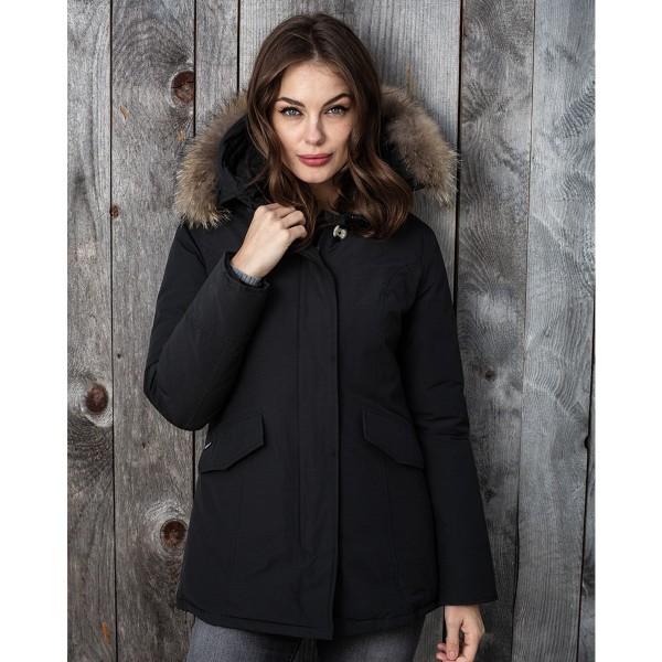 Airforce 2 Pocket Herringbone Damen Jacke - schwarz mit natur Echtfell