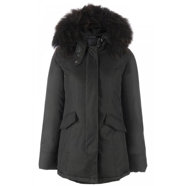 Airforce 2 Pocket Herringbone Damen Jacke TTT - schwarz mit schwarzem Echtfell