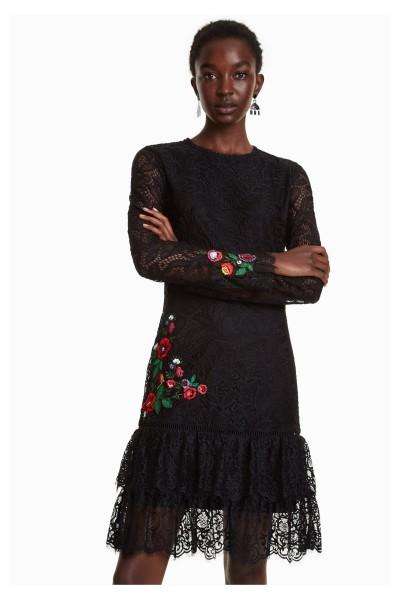 Desigual Boreal Damen Kleid mit Häckelspitze