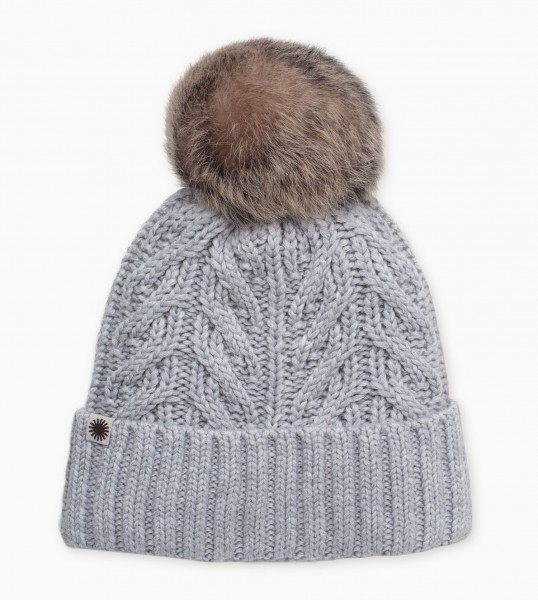 UGG Textured Cuff Damen Mütze mit Toskana Fell Bommel