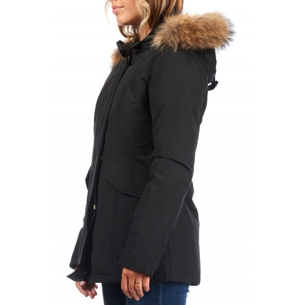 Airforce 2 Pocket Classic Parka Polyester Damen Jacke schwarz mit natur Echtfell