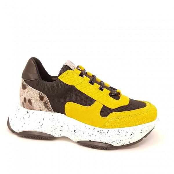 SPM Katrie Ugly Plateau Sneaker - yellow / black / Leo